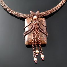 Dark Tile - wire woven and crochet necklace with stone and pearls
