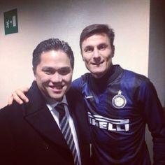 """""""Prima di #InterCatania il Presidente #Thohir negli spogliatoi insieme a Capitan Zanetti!"""""""