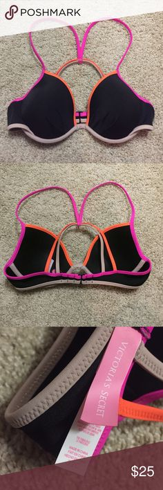 Victoria Secret Swim: The Fabulous Top Size 32 C - Black with neon accents. - Never Worn - Online purchase, did not include paper tags. Victoria's Secret Swim Bikinis