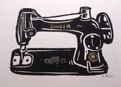Gary Boyd Art: Singer Sewing Machine - Linocut - Original Print