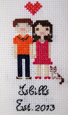 Custom Cross Stitch Family Personalized by SeaOfDreamsCrafts