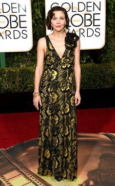 Maggie Gyllenhaal from 2016 Golden Globes Red Carpet Arrivals   E! Online