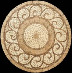 Mosaic Table - Grecia Mosaic Table Pattern. Beige Travertine mosaic chips are accented with attractive natural Marble mosaics.