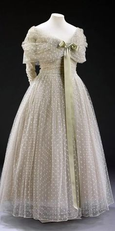 Dior 'La Ligne Libre' Dress - 1957 - House of Dior - Design by Christian Dior - Made for Baroness Alain de Rothschild - Tulle and net of nylon and rayon with satin ribbon, boned, lined with silk