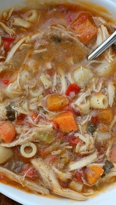 Sicilian Chicken Soup - Authentic Sicilian Chicken Soup with a peppery broth, fresh vegetables and tender moist chicken.
