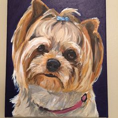 Yorkie painting, custom pet painting of Lexy on 8x10 canvas
