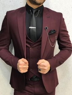 Lancaster Informations About Lancaster Burgundy Slim Fit Suit Pin You can easi. Maroon Suit, Burgundy Suit, Mens Fashion Suits, Mens Suits, Grey Suits, Mens Casual Suits, Casual Attire, Groom Attire, Casual Wear