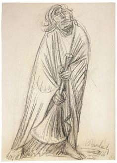 El corneta. Carboncillo. 1936. 50,1 x 36,2 cm. Artista: Ernst Barlach.