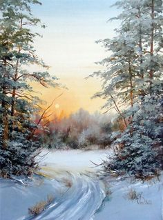 Great Reference for Painting with tha MA-Brushes for Photoshop! Painting Snow, Winter Painting, Winter Art, Watercolor Landscape, Landscape Art, Landscape Paintings, Watercolor Art, Winter Images, Winter Pictures