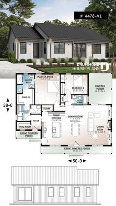 Discover the plan - Beauford 2 from the Drummond House Plans house collection. 2 bedrooms, 2 bathrooms, economical modern ranch style house plan with covered rear balcony, open space. Total living area of 1604 sqft. 2 Bedroom House Plans, Ranch House Plans, Dream House Plans, Small House Plans, Dream Houses, Bedroom Balcony, Tiny Home Floor Plans, Tiny House 2 Bedroom, Ranch Style Floor Plans
