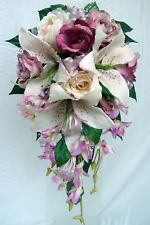 WEDDING BOUQUET,IVORY LILY,DUSTY PINK ROSES & ORCHIDS