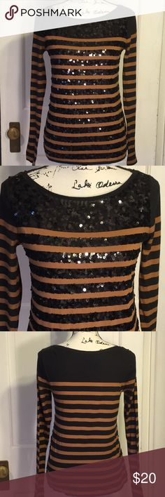 LOFT S long  sleeve brown/ black tee with sequins Fun sparkly long sleeve striped cotton tee with black sequins on the front only., contrasting with a medium brown , perfect for going out. With black jean, pants skirts, and blue jeans. Small. Ann Taylor's LOFT. Gently loved. LOFT Tops Tees - Long Sleeve