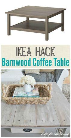Ikea Hack-Barnwood Coffee Table Barnwood Coffee Table, Wood Sofa Table, Diy Coffee Table, Ikea Hacks Coffee Table, Ikea Hemnes Coffee Table, Ikea Sofa Table, Ikea Table Hack, Coffee Nook, Coffee Coffee