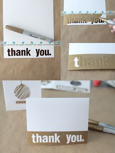 super easy DIY thank you cards with a modern edge using metallic sharpies