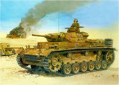 Panzer III Ausf. H in North Africa DAK con cannone corto da  50mm Sd.Kfz. 141 Late Production. Ron Volstad. Box art Dragon