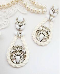 White Earrings, Rhinestone Earrings, Boho Earrings, Chandelier Earrings, Statement Earrings, Bridesmaid Earrings, Wedding Earrings, Bridesmaid Gifts, Handmade Jewellery
