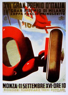 Vintage Illustration - Lee Sutton, via Flickr - 1938 Italian Gran Prix