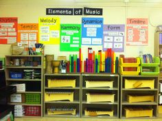 Music Room: Elements of Music Wall and instrument storage. I like the large themed posters. Informational yet organized and crisp. Music Lesson Plans, Music Lessons, Singing Lessons, Singing Tips, Music Word Walls, Music Wall, Music Room Organization, Classroom Organization, Music Anchor Charts