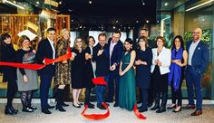 Grand opening of the flagship Sossego showroom at the Design Center at the Merchandise Mart, CHICAGO. Brazilian designer Aristeu Pires and wife Ana are surrounded by Sossego owners, team members, clients, Merchandise Mart executives, and architect Leonardo Mader. Photo by @jessandcoffee