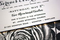 Turcan and Ev wanted classic wedding invitations with a few bold yet sophisticated elements.  They worked with Sarah from The Happy Envelope, who created a stunning black and white invitation design.  The entire suite was letterpress printed on super-thick paper, with a vintage rose illustration on the reverse side and cobalt blue edge painting.  So pretty! …