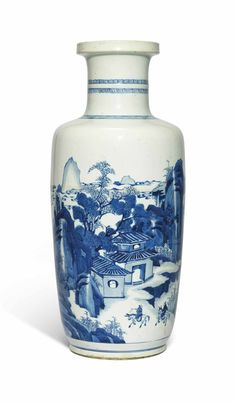 A blue and white rouleau vase, Kangxi period (1662-1722)