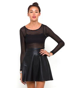 Antonia High Waisted Skirt in Black Faux Leather