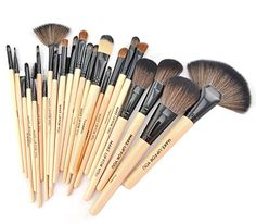 Afunti 24pcs Professional Synthetic Cosmetic Makeup Brush Set Kit Brushes Tools Make up with Case Wood >>> Check this awesome product by going to the link at the image.