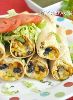 Baked Black Bean + Sweet Potato Flautas | Peas and Crayons: Baked Black Bean + Sweet Potato Flautas. Use corn tortillas for gluten free.
