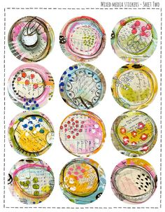 Mixed Media Stickers  Sheet Two for Mail Art by Robenmariesmith, $3.95