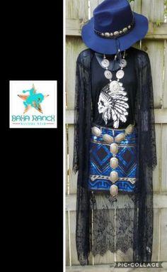 372a647dac95 Cowgirl gypsy black LACE DUSTER Kimono Cardigan Western BOHO Small