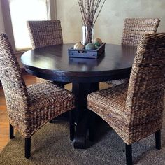 Refinished Oak Dining Table and Rattan Chairs