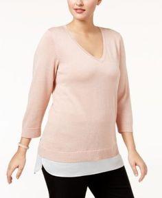 Calvin Klein Plus Size Layered-Look Sweater - Pink 0X