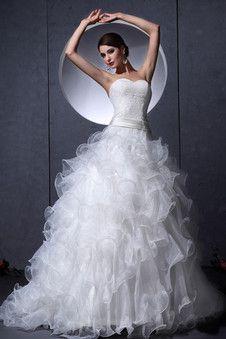 [154.54 €] Robe de mariée romantique gonflé ruchés plongeants en chute fourreau superposé