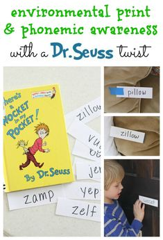 """Read """"There's a Wocket in My Pocket"""" by Dr. Seuss and then implement phonemic awareness concepts and environmental print with this fun activity! Dr Seuss Activities, Activities For Kids, Preschool Ideas, Dr Seuss Day, Dr Suess, Dr Seuss Crafts, Kids Crafts, Phonological Awareness Activities, Environmental Print"""