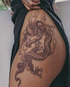 Best Tattoo Ink, Red Ink Tattoos, Dainty Tattoos, Body Art Tattoos, Sleeve Tattoos, Tatoos, Unique Hand Tattoos, Hip Thigh Tattoos, Thigh Tattoos For Girls