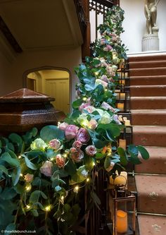 A stunning floral garland on the staircase at St Audries Park. The slight illumination made it look even more eye-catching as the daylight faded. A Wilde Bunch design. Park Weddings, Wedding Events, Bristol Channel, Floral Garland, Christmas Wreaths, Wedding Flowers, Floral Design, Eye, Holiday Decor