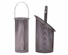 One slanted basket filter with square holes and one standard basket filter with round holes.