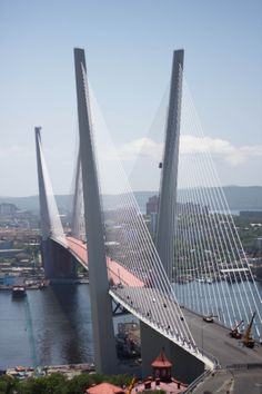 Bridge over Zolotoy Rog Bay in Vladivostok. Russian Far East