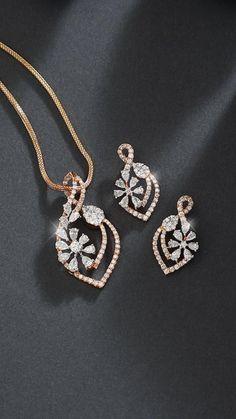 Diamond Earing, Diamond Drop Earrings, Diamond Pendant, Pendant Set, Pendant Necklace, Gold Jewellery Design, Trendy Jewelry, Floral Fashion, Jewels