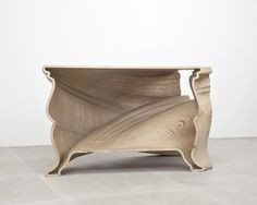 Amazing 'Cinderella Table' CNC cut Birch Plywood also must check out the marble one version, incredible! Buffet Cabinet, Cabinet Furniture, Table Furniture, Table Desk, Wood Table, Unique Furniture, Furniture Design, Lighting Concepts, Technology Design