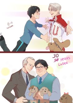Victor x Yuuri now and how they will look like 10 years in future, after they'll leave sport for good (admit it, it's probably canon ^__^) Edit: Ok, after being flooded with asks and messages, I changed 10 to 30.
