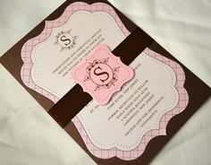 Brown and pink christening invitation with diecut shape by Jar of Ideas