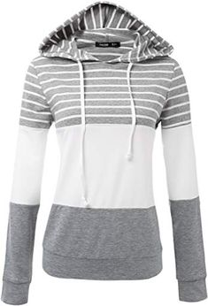 JayJay Women Casual Athleisure Long Sleeve Striped Contrast Color Pullover Hoodie Sweater Shirt,HeatherGray,L Pullover Shirt, Shirt Bluse, Sweater Hoodie, Hooded Sweatshirts, Hoodies, Pink Running Shoes, Outdoor Outfit, Athleisure, Mantel
