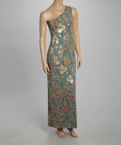 Look at this #zulilyfind! Gold & Turquoise Paisley One-Shoulder Maxi Dress by Tiana B #zulilyfinds So want this - hopefully payday leaves me enough before sale over