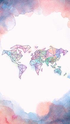 Papel de parede Mapa Mundi em Aquarela.