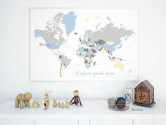 Custom quote color and size printable world map with countries