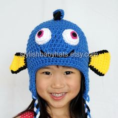 Finding Dory hat Fish Hat Crochet Baby Hat by stylishbabyhats
