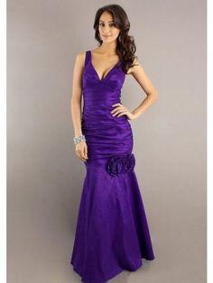 Two Straps V-Neck Hand Made Flower Floor-Length Taffeta Purple Dress Sale