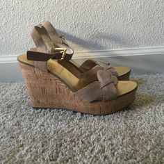 Michael Michael Kors wedges Nude suede strappy wedges from Michael Michael Kors. Worn only once, but like new! MICHAEL Michael Kors Shoes Wedges