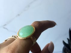 Aventurine Oval Stone Ring in Silver or Gold by WildHeartCo